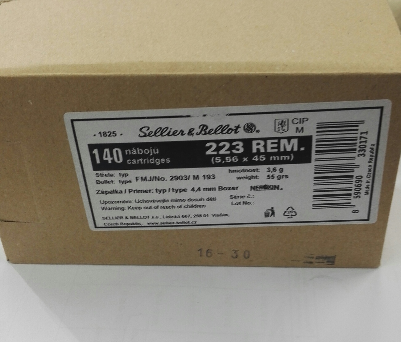 Sellier & Bellot 223 Rem 5.56x45 3,6 g / 55 gr 140 kpl / ltk