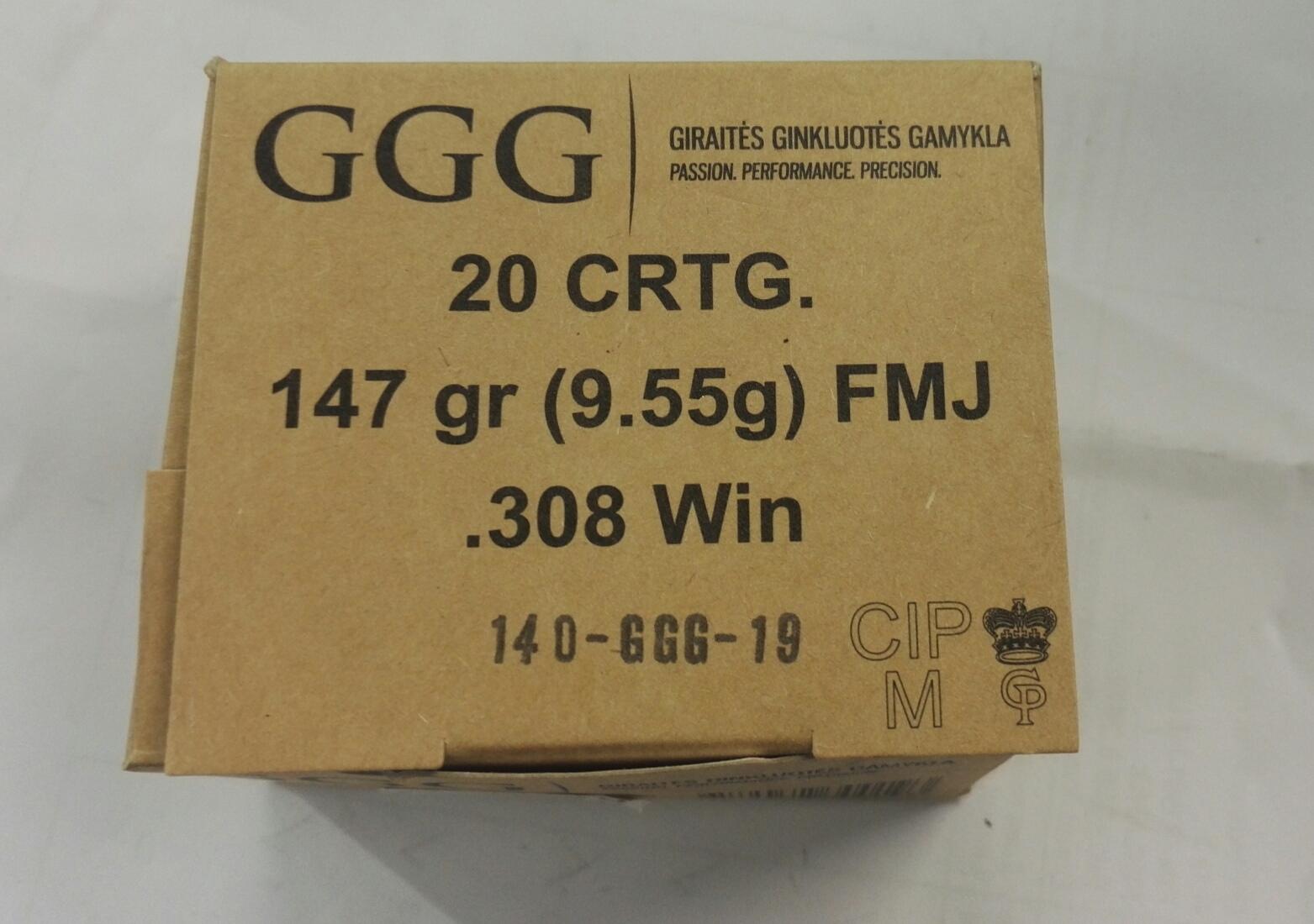 .308win patruuna GGG-Nato 9,55g FMJ 20kpl