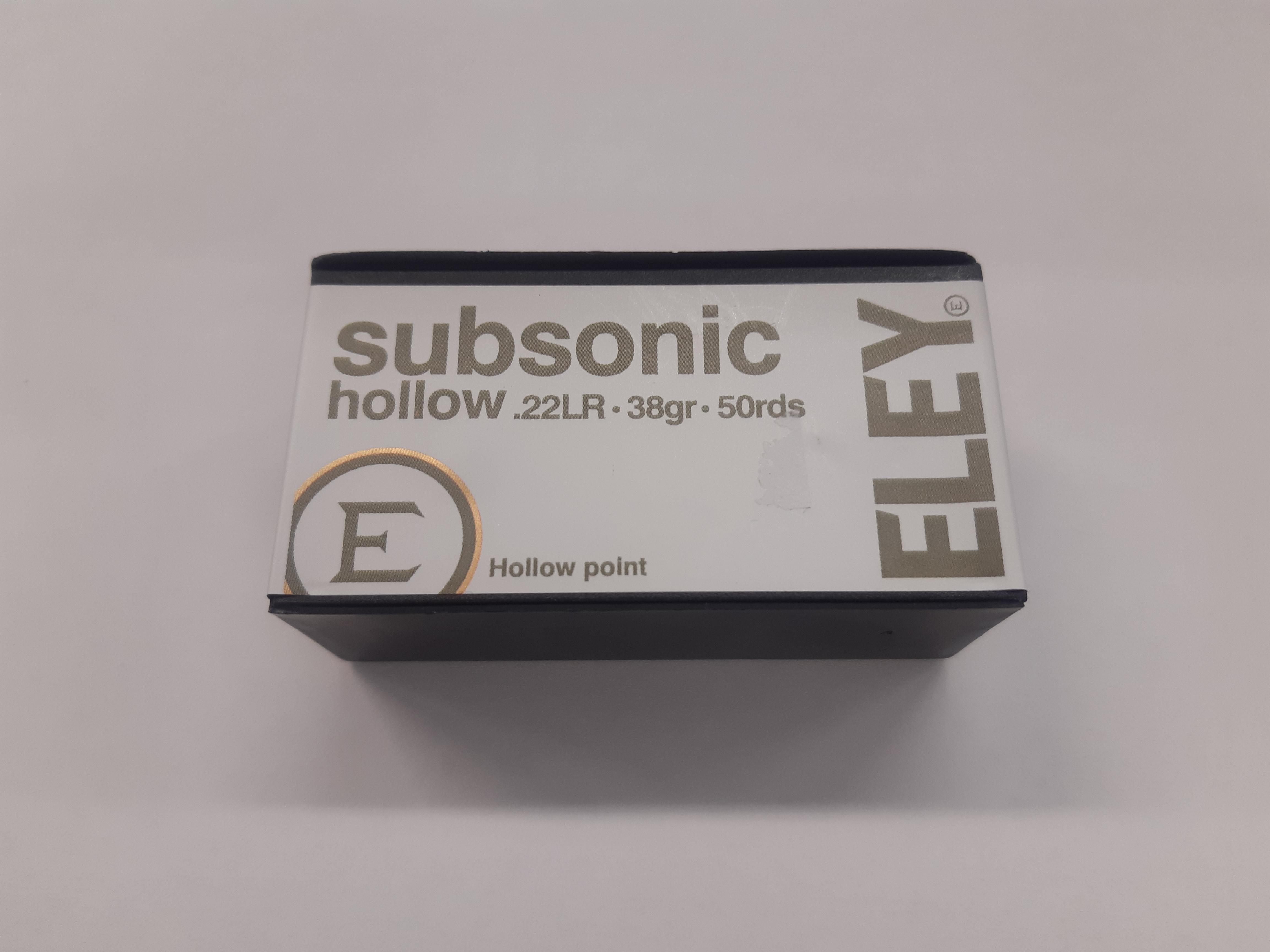 Eley Subsonic 22 LR HP 2,46g 317m/s 50 kpl / ras